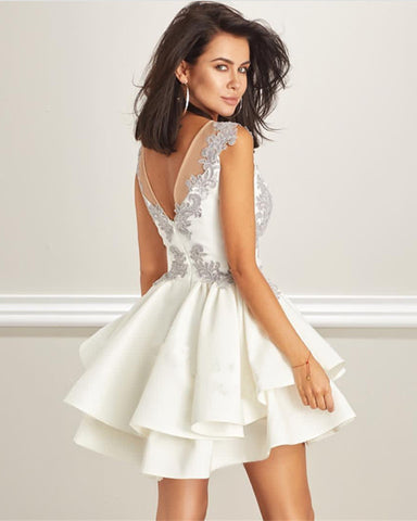 Image of Elegant Short Silver Lace Cap Sleeves Ruffles Homecoming Dresses