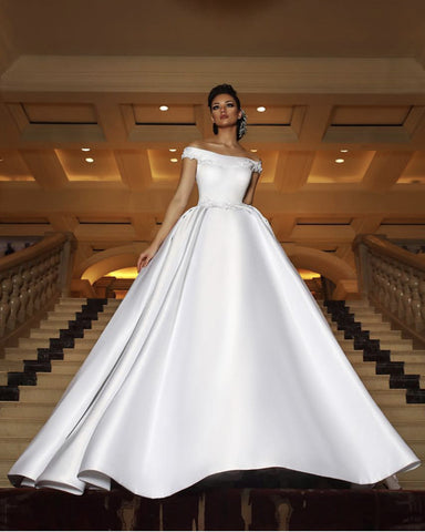 Image of Royal-Wedding-Dresses-Satin-Off-The-Shoulder-Bride-Dress