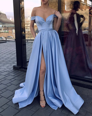 Image of Light Blue Satin Off The Shoulder Prom Dresses Leg Split Evening Gowns