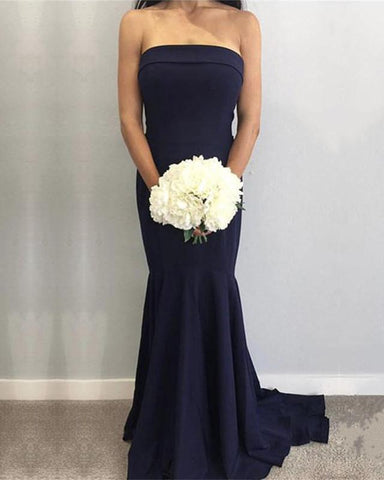 Image of Simple-Bridesmaid-Dresses-Long-Satin-Strapless-Formal-Mermaid-Gowns