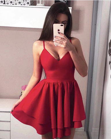 Image of Sexy Spaghetti Straps V-neck Ruffles Satin Prom Homecoming Dresses