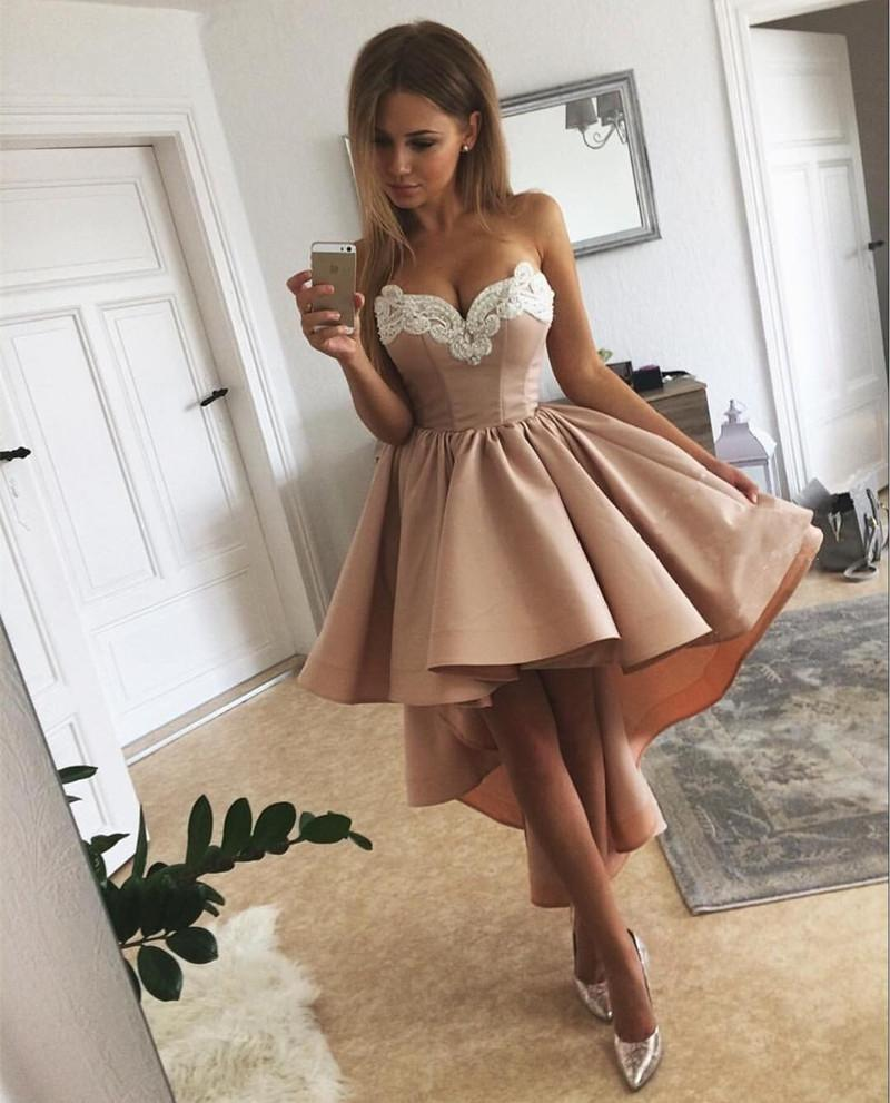 Gorgeous Lace Embroidery Sweetheart A Line High Low Prom Dresses 2018