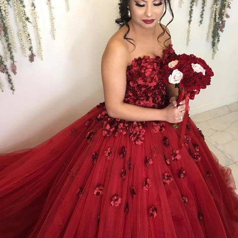 Image of Lovely Flower Sweetheart Tulle Ball Gowns Quinceanera Dresses 2019