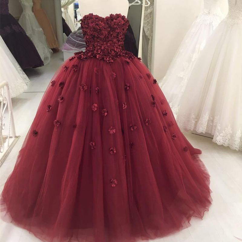 Lovely Flower Sweetheart Tulle Ball Gowns Quinceanera Dresses 2019