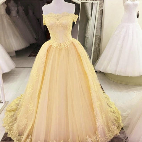 Image of Off The Shoulder Tulle Quinceanera Dresses Lace Appliques Ball Gowns
