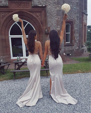 Image of Sexy Deep V-neck Long Satin Mermaid Split Bridesmaid Dresses