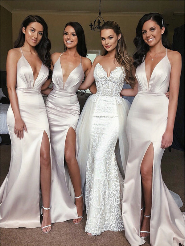 Sexy Open Back Long Satin Split Bridesmaid Dresses Mermaid