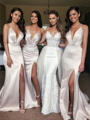 Image of Sexy Open Back Long Satin Split Bridesmaid Dresses Mermaid