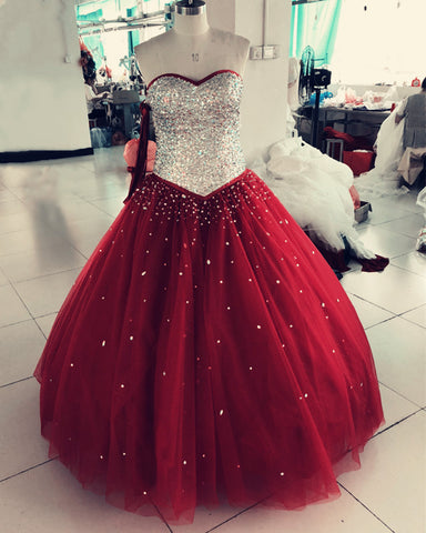 Image of Burgundy-Quinceanera-Dresses-Ball-Gowns-Sweet-16-Party-Dress