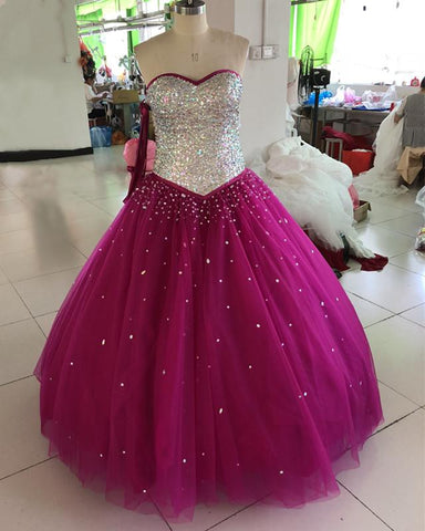 Image of Ball Gowns Quinceanera Dresses Crystal Beaded Sweetheart Bodice Corset
