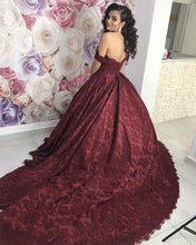 Load image into Gallery viewer, Wine-Red-Wedding-Dresses-Lace-Ball-Gowns