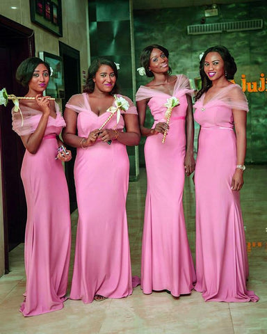 Image of Long Jersey Empire Waistline Mermaid Bridesmaid Dresses With Cap Sleeves