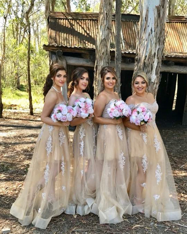 Champagne Lace Appliques Sweetheart Tulle Floor Length Bridesmaid Dresses