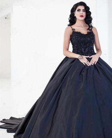 Image of Black Lace Embroidery V-neck Satin Ball Gowns Wedding Dresses