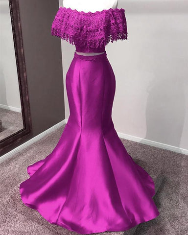 Image of Purple-Prom-Dresses-Mermaid-Evening-Gowns-Two-Piece