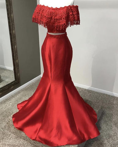 Image of Red-Formal-Party-Dresses-Off-Shoulder-Evening-Gowns