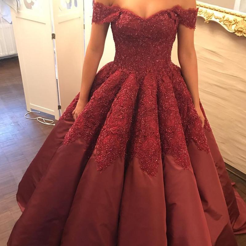 Burgundy Taffeta Wedding Ball Gown Dresses Lace Off The Shoulder