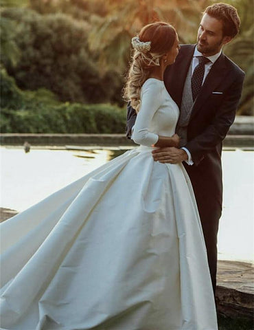 Image of Modest Wedding Dresses Satin Ball Gowns With Sleeves