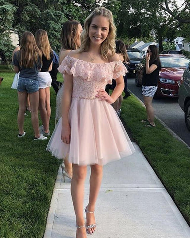 Image of Pink-Homecoming-Dresses-Short-Cocktail-Dress