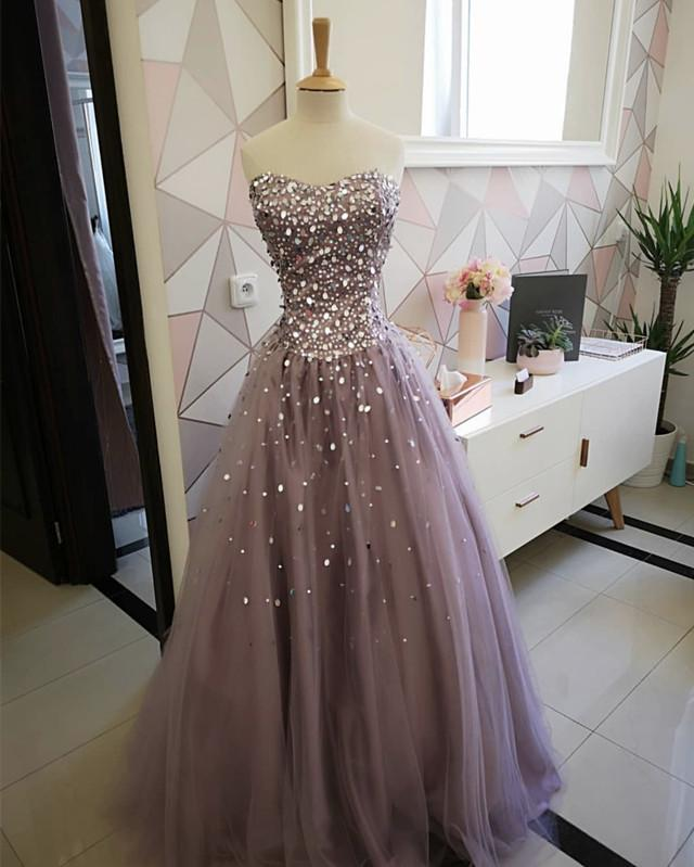 5f24737fff Strapless Bodice Corset Tulle Ball Gowns Prom Dresses Sequin Beaded. Double  tap to zoom