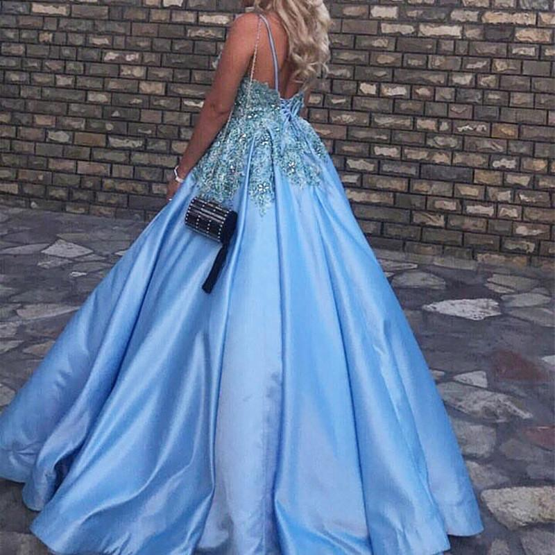 Light Blue Satin V Neck Ball Gowns Wedding Dresses For Bride
