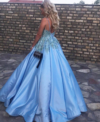 Image of Light Blue Satin V Neck Ball Gowns Wedding Dresses For Bride