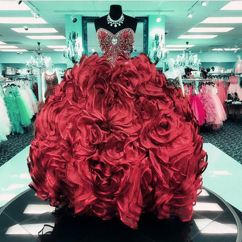 Image of Crystal Beaded Sweetheart Organza Ball Gowns Quinceanera Dresses