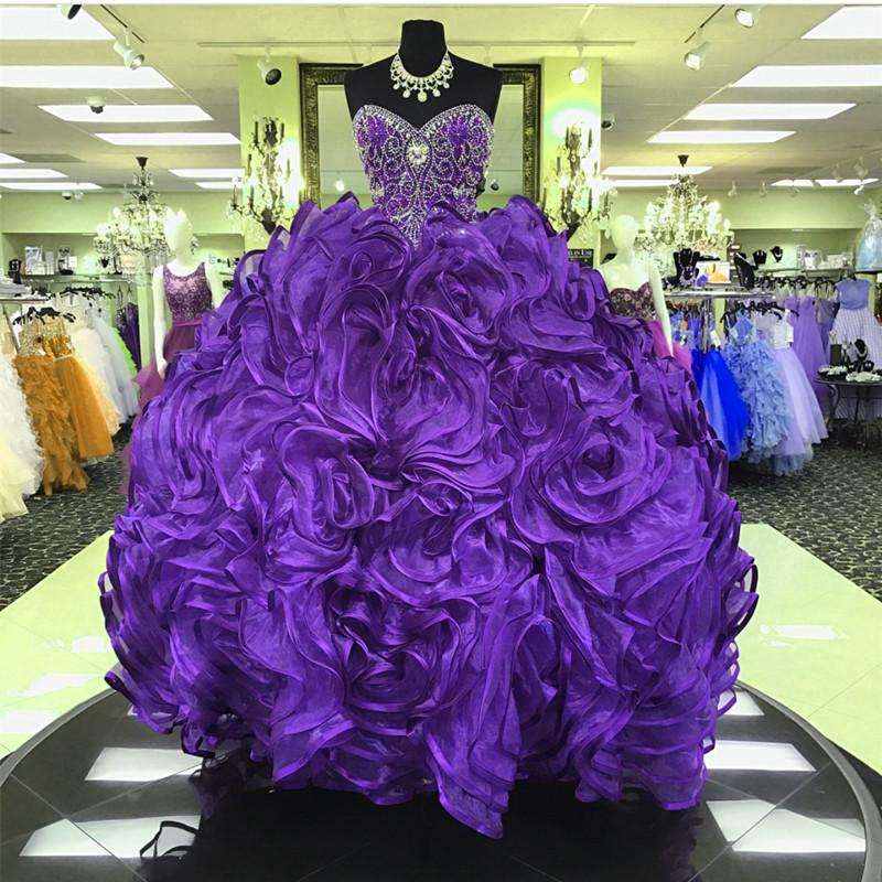 Crystal Beaded Sweetheart Organza Ball Gowns Quinceanera Dresses