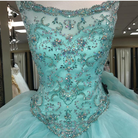 Image of Jewelry Neck Beaded Bodice Organza Layered Ball Gowns Quinceanera Dresses