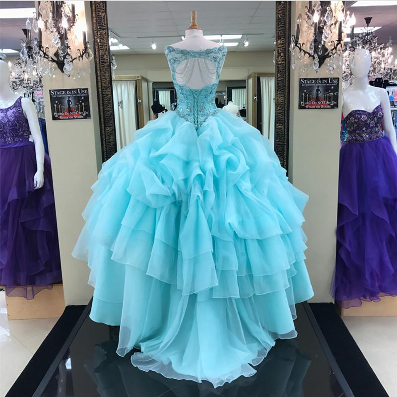 Jewelry Neck Beaded Bodice Organza Layered Ball Gowns Quinceanera Dresses