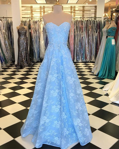 Image of Baby-Blue-Lace-Dresses