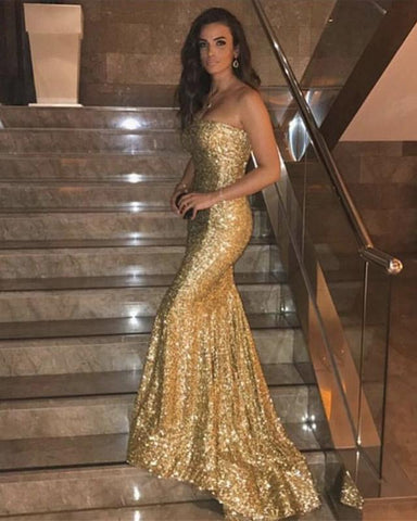 Image of Long Gold Sequins Strapless Prom Dress Mermaid Evening Gowns