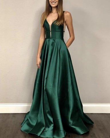 Image of Long-Green-Prom-Dresses-Bodice-Corset-Evening-Gowns