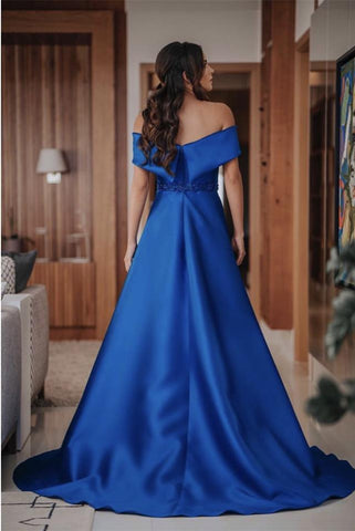 Image of Long Satin Off Shoulder Prom Evening Dresses Beaded Sashes