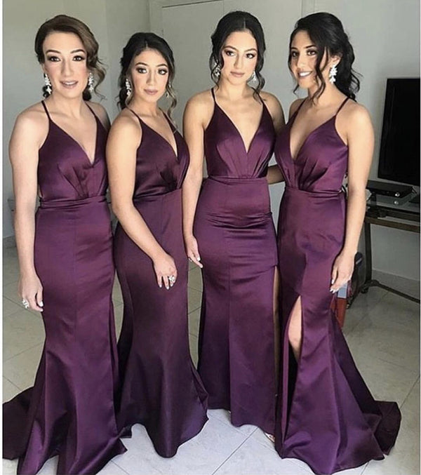Long Split Mermaid Satin V-neck Open Back Bridesmaid Dresses