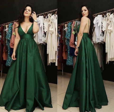 Image of Plunge V-neck Floor Length Satin Prom Dresses