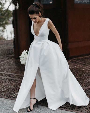 Image of Chic Long Satin Plunge Neck Beach Wedding Dresses Leg Split