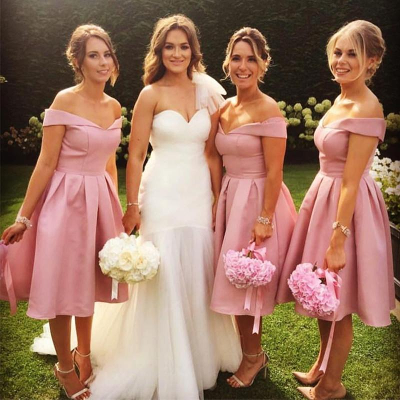 Short V Neck Off The Shoulder Bridesmaid Dresses Knee-length Cocktail Dresses