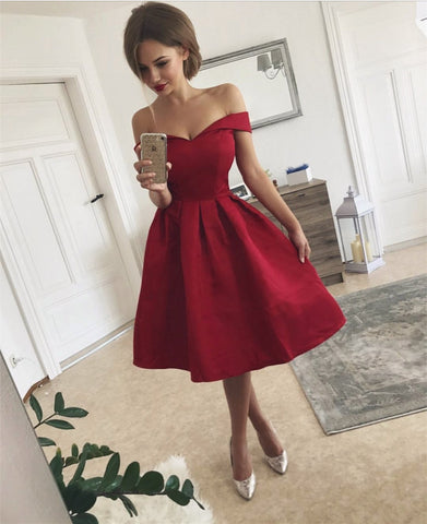 Image of Short V Neck Off The Shoulder Bridesmaid Dresses Knee-length Cocktail Dresses