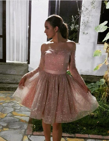 Image of off the shoulder sequin homecoming dresses long sleeves cocktail dress
