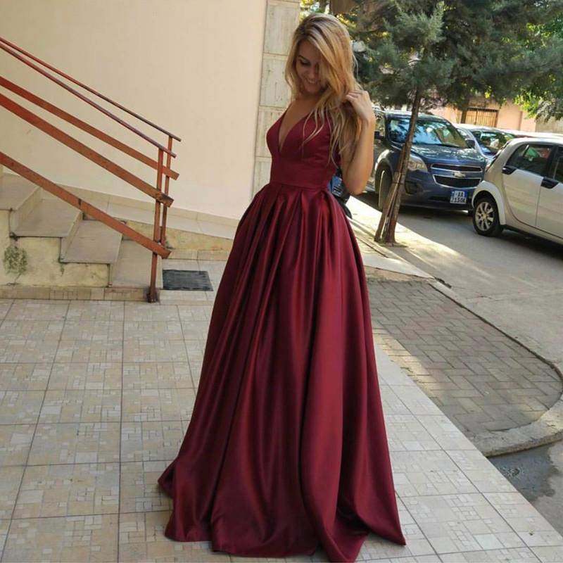 Burgundy Satin V Neck Long Evening Gowns For Wedding Party