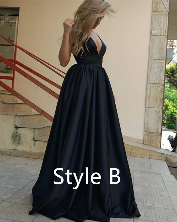Deep V-neck Long Satin Royal Blue Evening Dresses