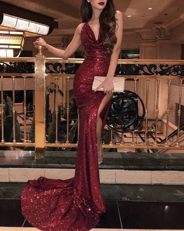 Halter Neck Long Sequin Mermaid Prom Dresses Leg Split
