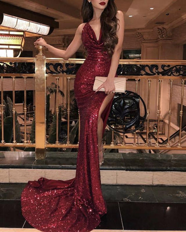 Image of Halter Neck Long Sequin Mermaid Prom Dresses Leg Split