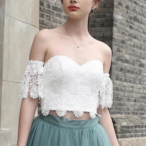 Image of White Lace Crop Top Tulle Prom Dresses Two Piece Homecoming Dress