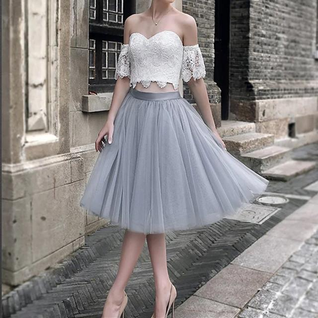 White Lace Crop Top Tulle Prom Dresses Two Piece Homecoming Dress