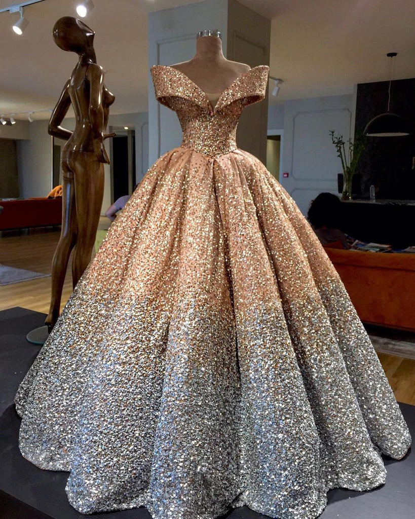 9b3c082361a Bling Bling Off The Shoulder Ball Gown Wedding Dress With Sequins And  Crystal Beads. Double tap to zoom