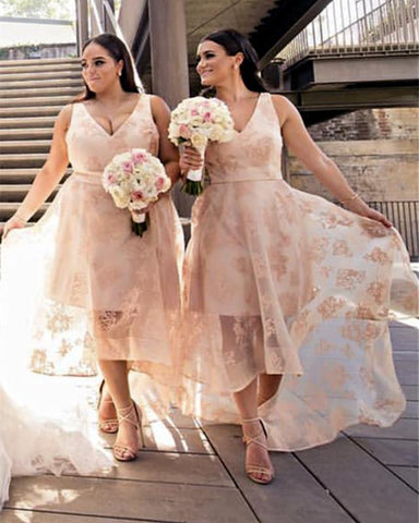 Image of Asymmetric-Bridesmaid-Dresses-Lace-Party-Dress-For-Weddings