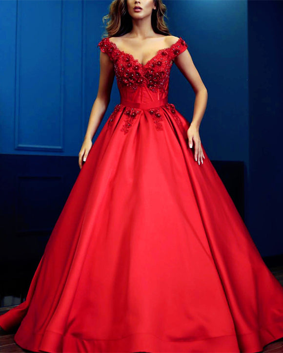 Lace Flowers Beaded V-neck Satin Prom Dresses Ball Gown Off Shoulder