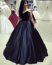 Load image into Gallery viewer, Velvet Corset Floor Length Ball Gowns Prom Dresses